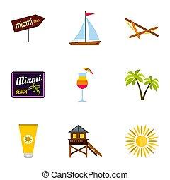 Tourism in Miami icons set, flat style - Tourism in Miami...