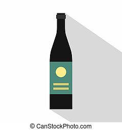 Wine bottle icon, flat style - Wine bottle icon. Flat...