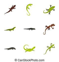 Iguana icons set, flat style - Iguana icons set. Flat...