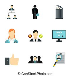 Work icons set, flat style - Work icons set. Flat...