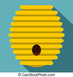 Beehive icon, flat style - Beehive icon. Flat illustration...