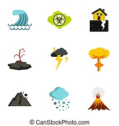 Natural disasters icons set, flat style - Natural disasters...