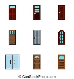 Types of doors icons set, flat style - Types of doors icons...