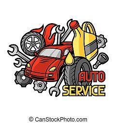 Car repair concept with service objects and items