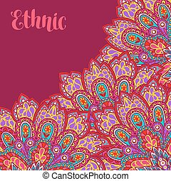 Indian ethnic background with hand drawn ornament