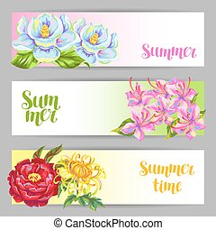 Banners set with China flowers. Bright buds of magnolia,...