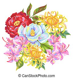 Bouquet with China flowers. Bright buds of magnolia, peony,...