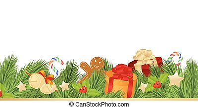 Merry Christmas Card with Gifts on White Background. Vector...