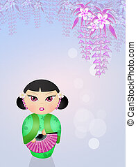 kokeshi doll - illustration of kokeshi doll