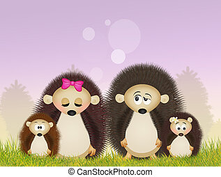 family of hedgehogs - illustration of hedgehogs family
