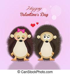Valentines, día, erizos