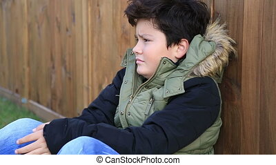 Winter portrait of cute boy in warm clothes - Portrait of a...