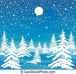 night winter forest - Christmas illustration of a night...
