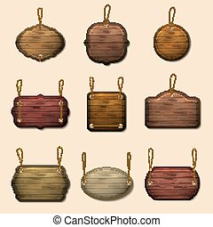 Old wooden label templates or vector banners - Old wooden...