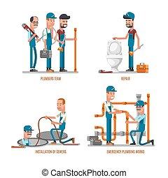 Plumbing work. Plumbers and repairs vector illustration -...