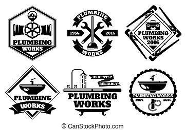Plumber working logo and force plumbing label vector set....