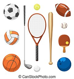 Vector sport equipment icons. Sports exercises items