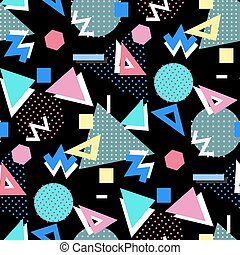 Memphis style background. - Memphis seamless pattern of...