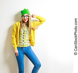 Funny Fashion Hipster Girl Smiling and Going Crazy - Funny...