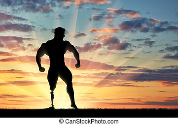 Paralympic bodybuilder with prosthetic leg sunset