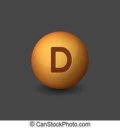 Vitamin D Orange Glossy Sphere Icon on Dark Background....