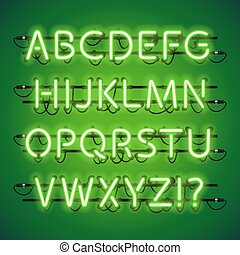 Glowing Neon Lime Green Alphabet. Used pattern brushes...