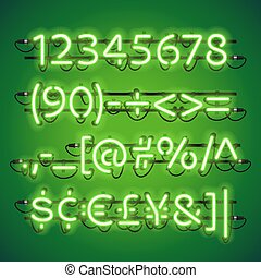 Glowing Neon Lime Green Numbers. Used pattern brushes...