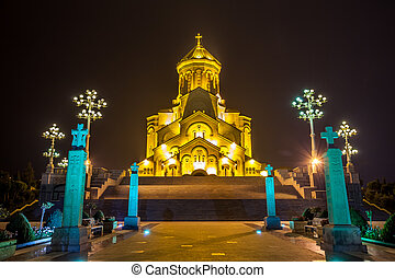 The biggest orthodox cathedral of Caucasus region - Sameba cathedral in Tbilisi at night, Republic of Georgia