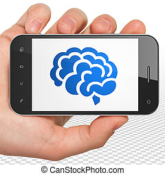 Science concept: Hand Holding Smartphone with Brain on display