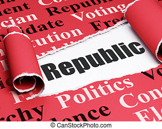 Politics concept: black text Republic under the piece of  torn paper