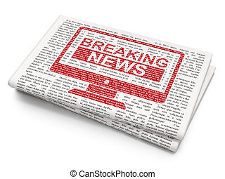 News concept: Breaking News On Screen on Newspaper background