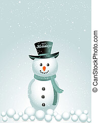 Happy holidays snow man background - Snow Man with Hat with...