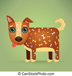 Cute Cartoon Dog with a Decorative Ornament on his Body....
