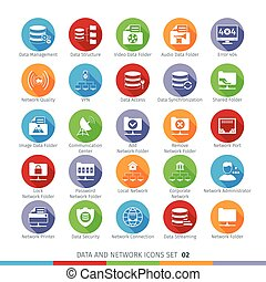 Modern Flat Icons Set - Modern Flat Data and Networks Icons...