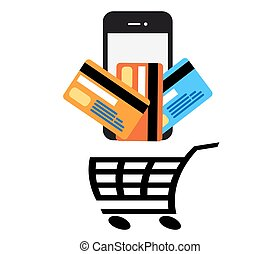 Mobile Pay vector - Contactless credit card vector.Wifi...