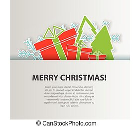 Merry Christmas greeting card, background vector design template