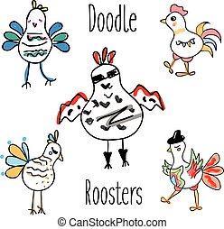 Doodle rooster birds vector set. Funny Cocks in hand drawn, sketch style, isolated design elements