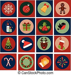 Christmas and new year icons. Vector set of vintage winter holidays symbols