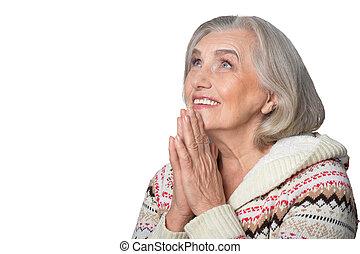 Sênior, orando, mulher