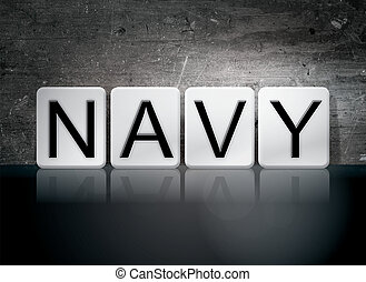 Navy Tiled Letters Concept and Theme
