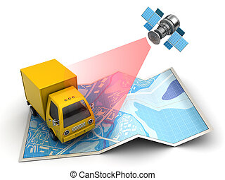 delivery tracking - 3d illustration of truck tracking with...