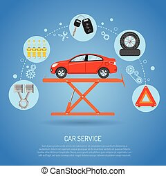 Car Service Concept - Car Service concept with Flat Icons...