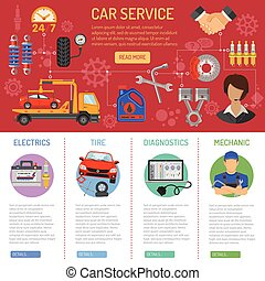 Car Service and Roadside Assistance Infographics with Flat...