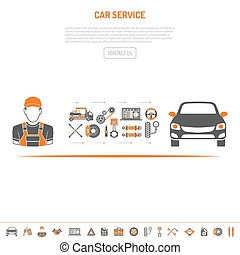 Car Service Concept with flat two color Icons set for...