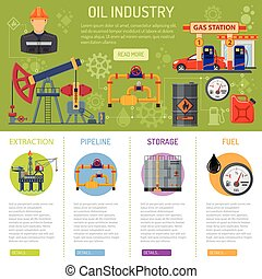 Oil industry Infographics with Flat Icons extraction storage...