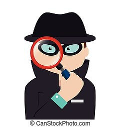 detective agent with magnifying glass vector illustration...