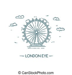 The London Eye. Vector flat line illustration. Famous London...