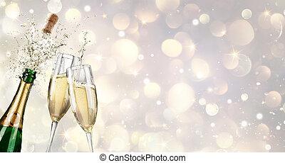 tostada, champaña,  explosión, Flautas