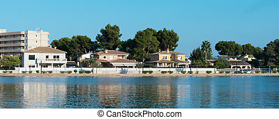 Several houses near pond. Alcudia, Mallorca.