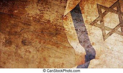 Israel Flag on Wood Background